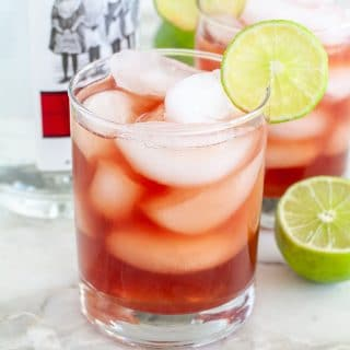 Cranberry vodka cocktail in glass