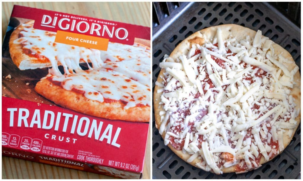 Frozen pizza in box and in air fryer