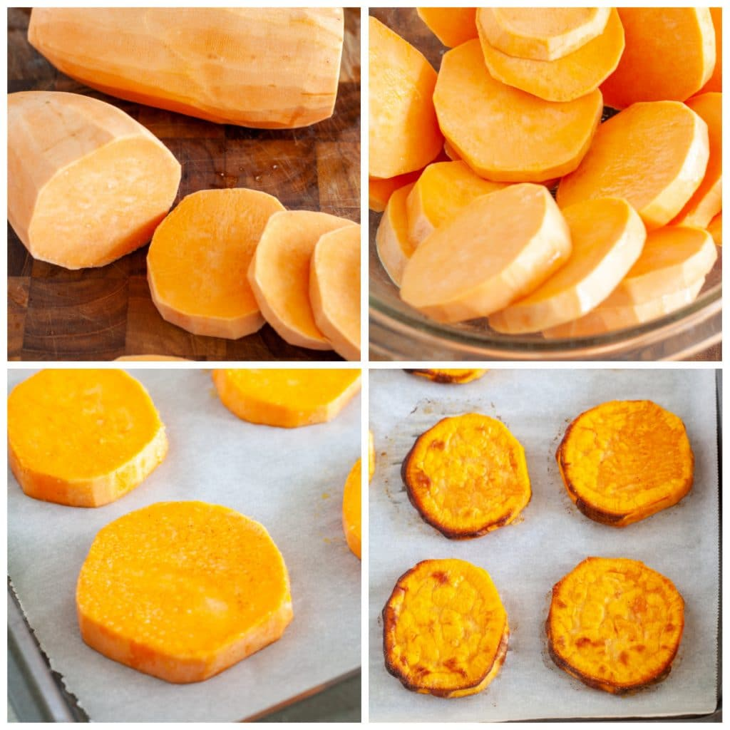 Sliced sweet potato in a bowl and on a baking sheet