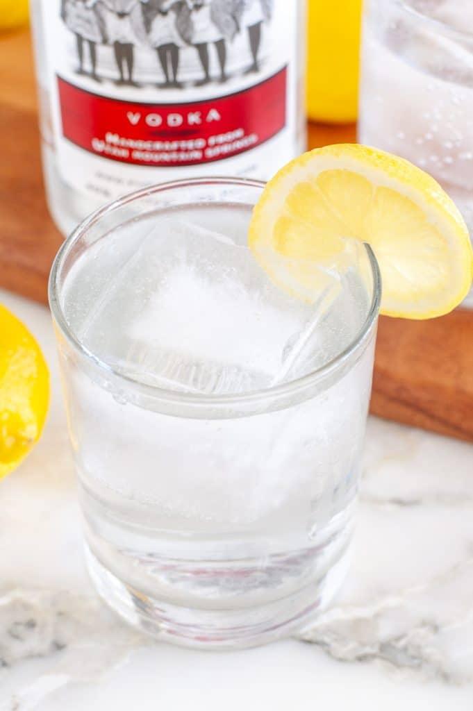 club soda and vodka in glass