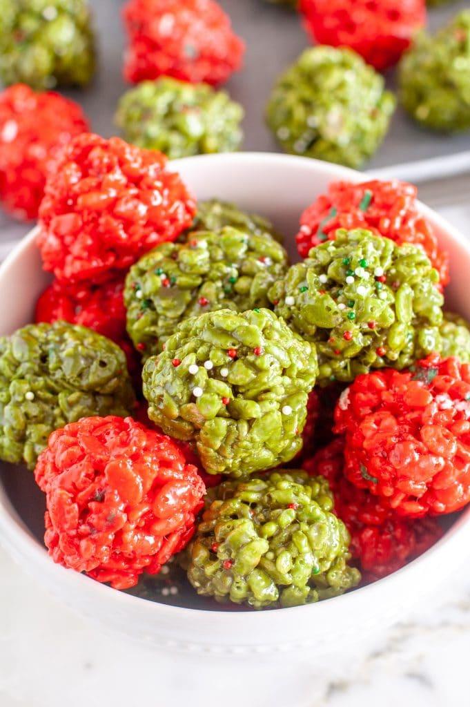 Rice krispie treat balls in a bowl