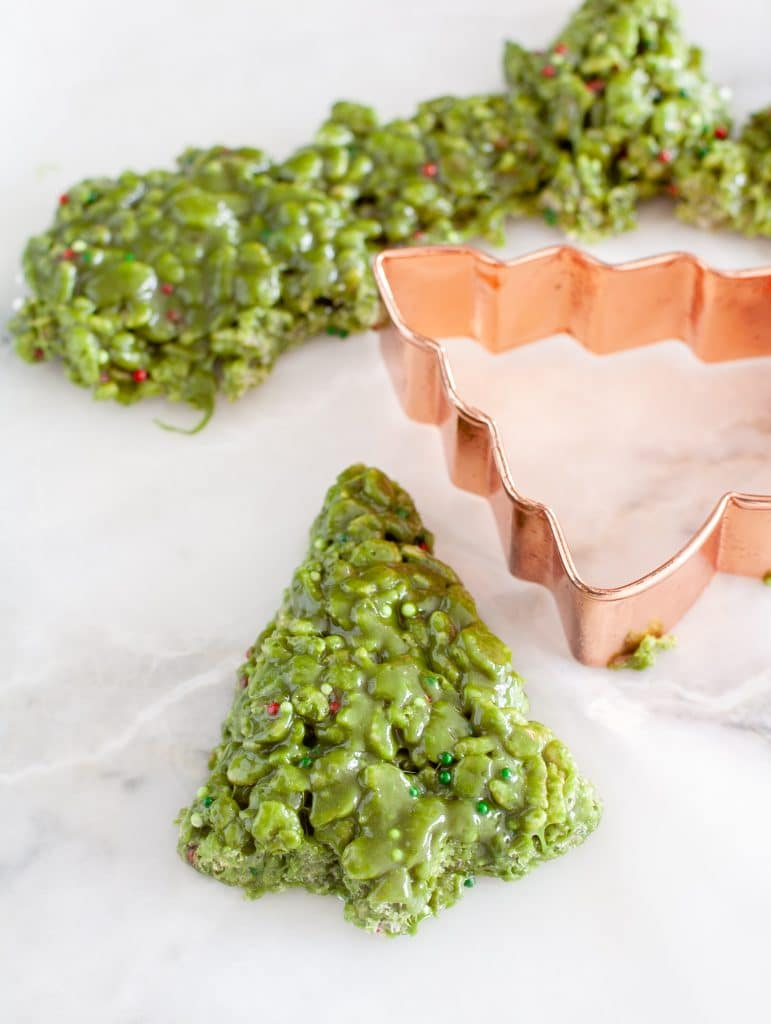 Christmas tree cookie cutter with krispie treat cut out