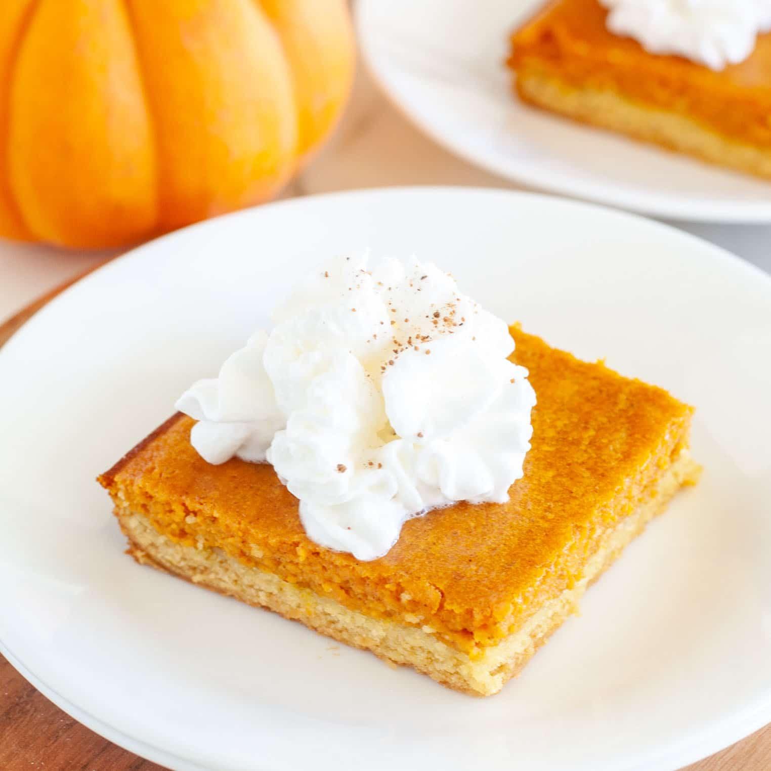 Gooey Pumpkin cake on a plate