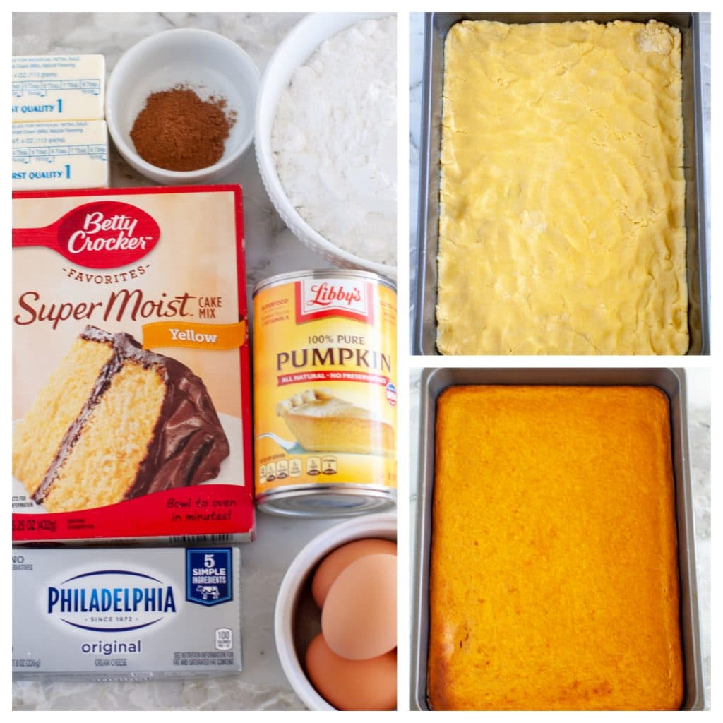 cake mix, eggs, cream cheese butter, powdered sugar