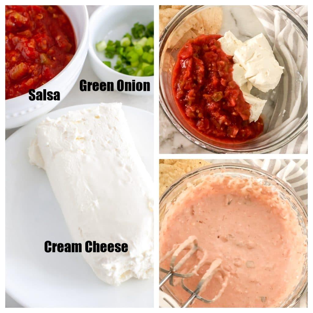 Cream cheese, salsa, onion