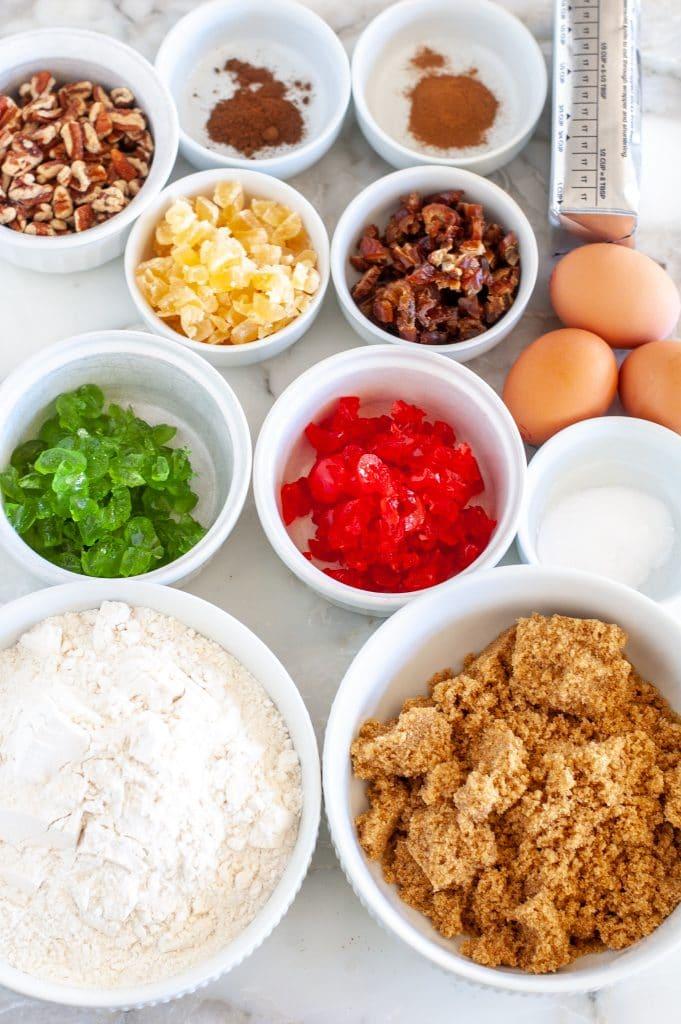 flour, brown sugar, cherries, nuts, pineapple, eggs, shortening