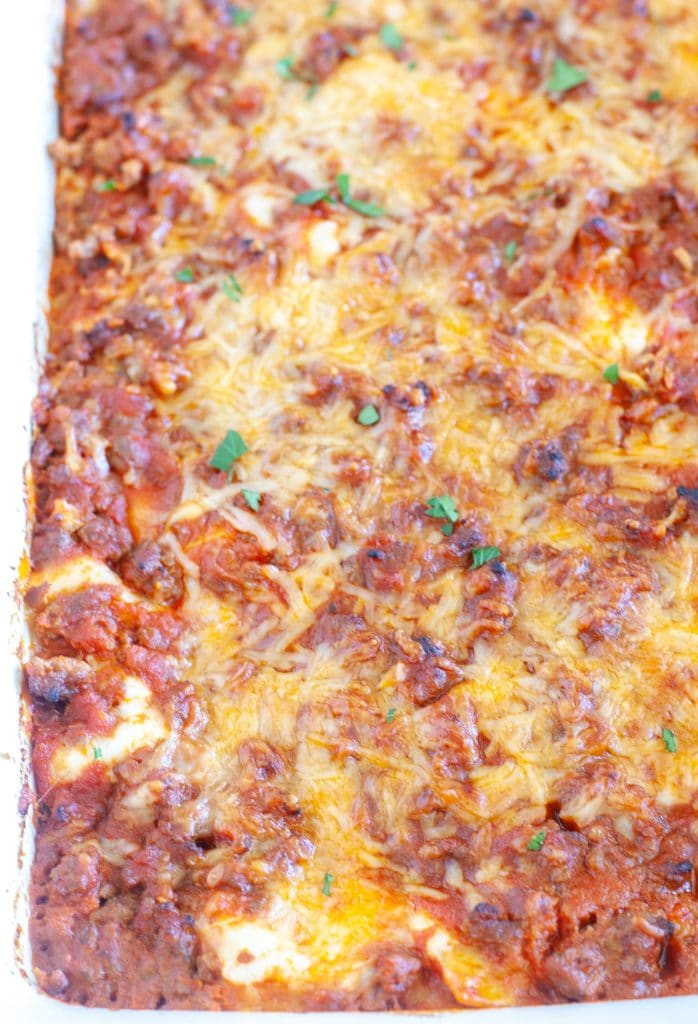 Whole cooked lasagna in casserole dish