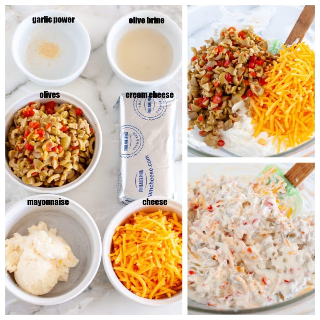 Garlic powder, olive brine, olives, cream cheese, mayo, cheese