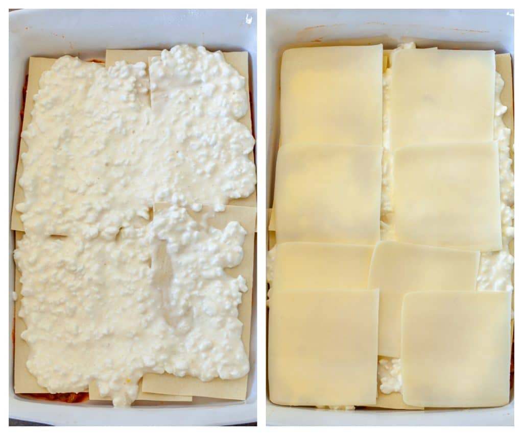 Layer of cottage cheese on top of pasta and a layer of mozzarella slices.