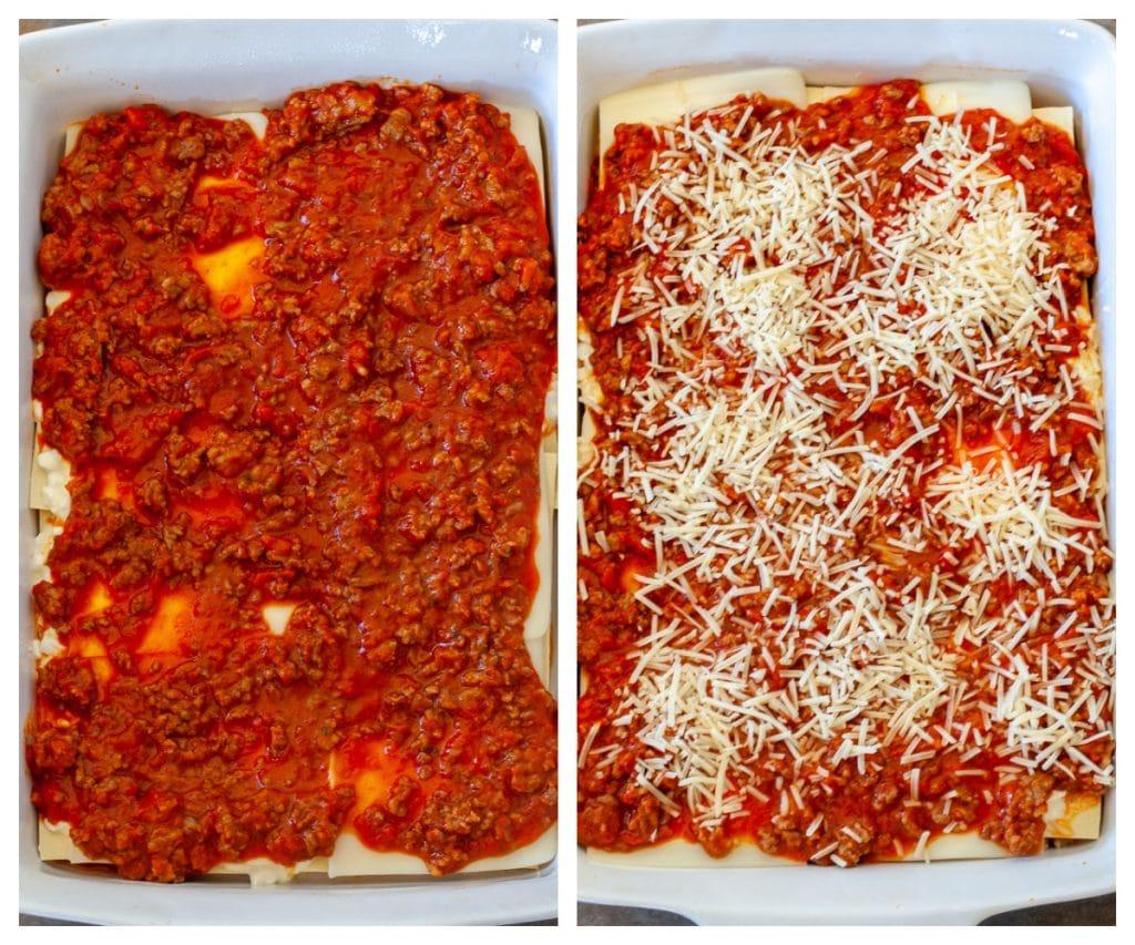 Layer of marinara sauce and shredded Parmesan cheese
