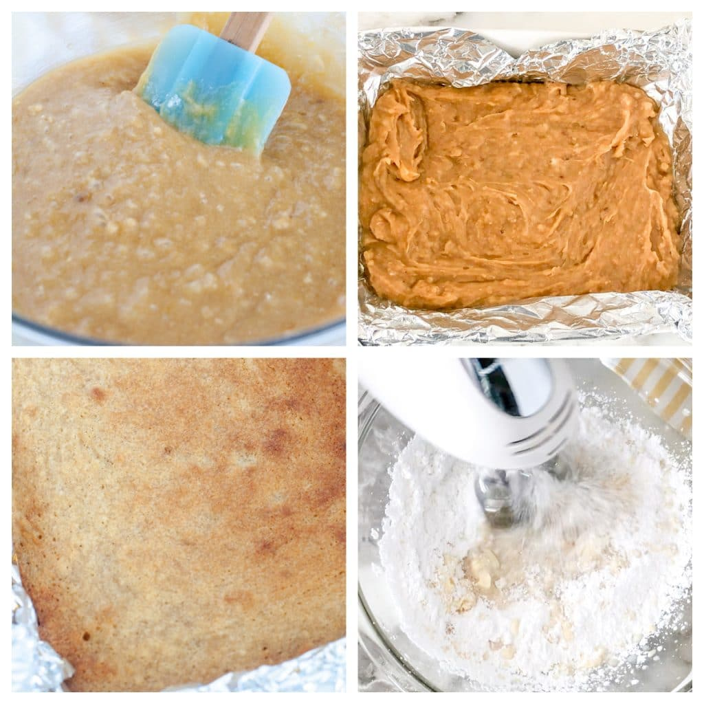 Bowl of blondie batter, batter in pan, bowl of frosting.