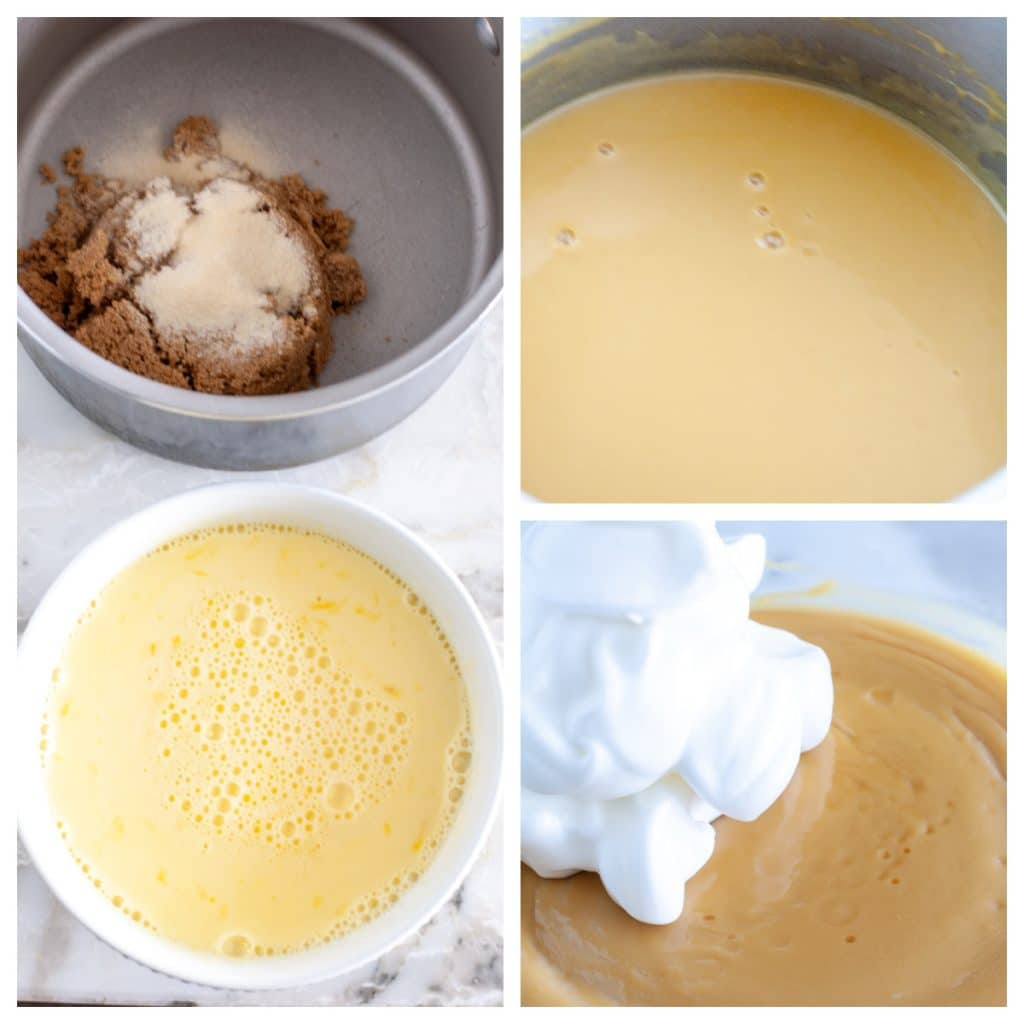 Pot with brown sugar, bowl with eggs and milk.