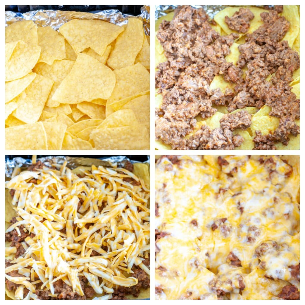 Chips with beef and shredded cheese.