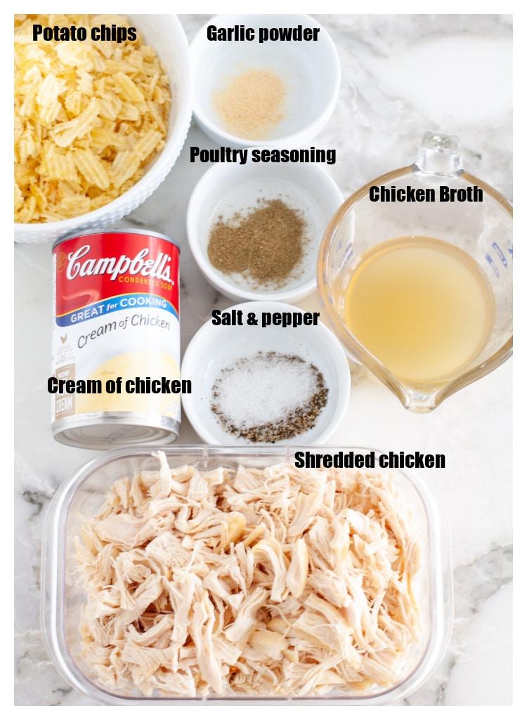 Bowl of potato chips, cooked chicken, broth, cream of chicken, seasonings.
