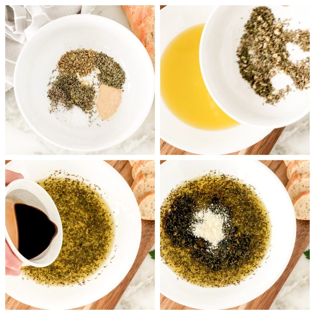 Herbs, olive oil, balsamic and parmesan