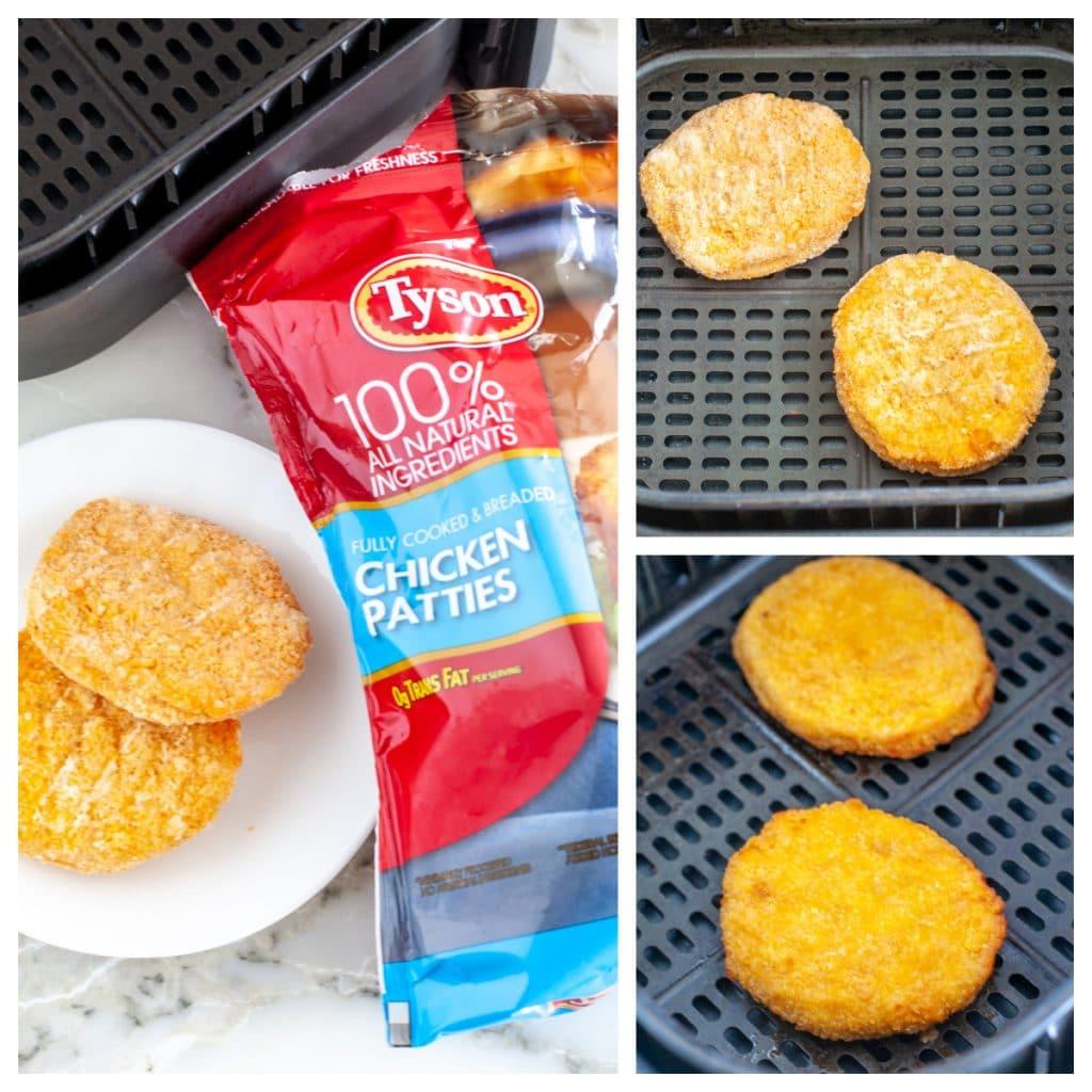 Frozen chicken patties in air fryer basket. air fryer