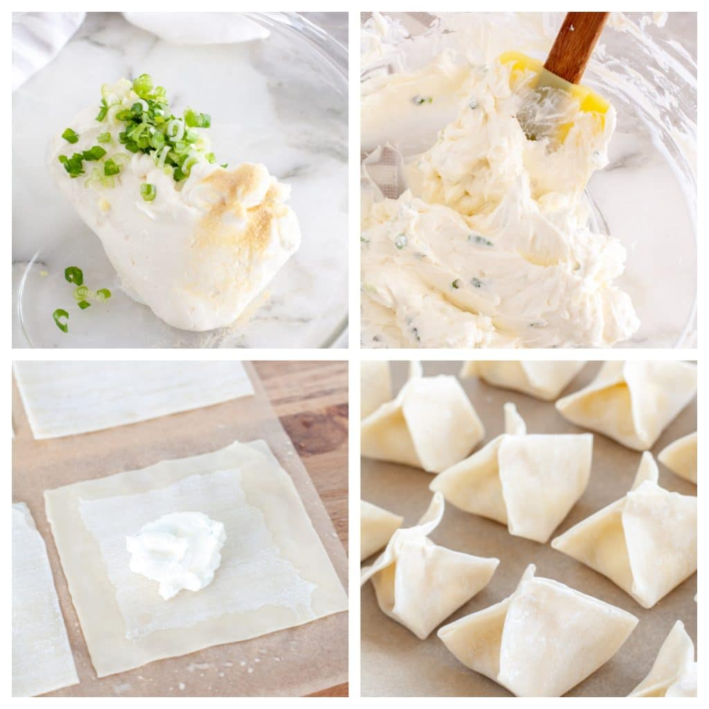 Bowl with cream cheese and onions, mixture in wonton, and wontons folded.