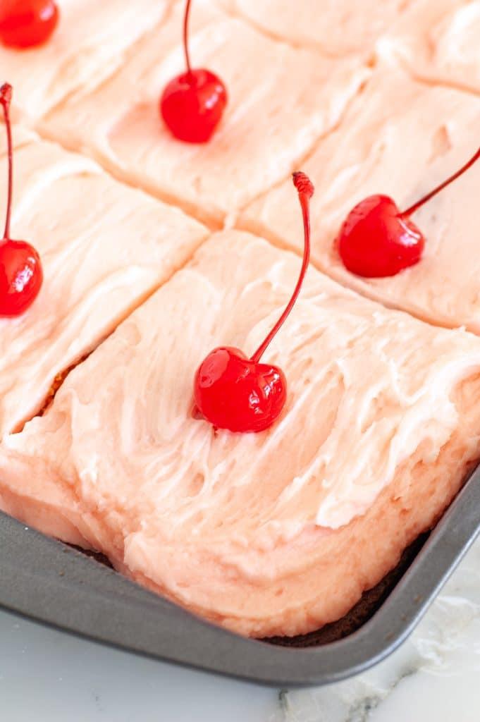 Cherry cake in baking pan.