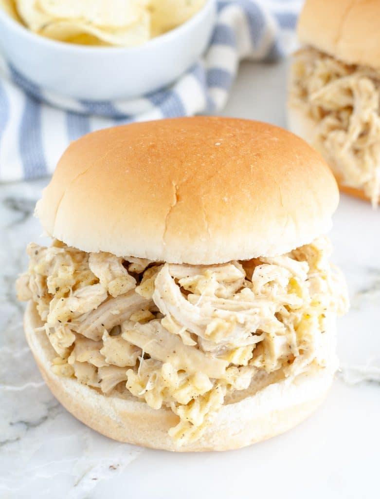 Chicken on hamburger bun.