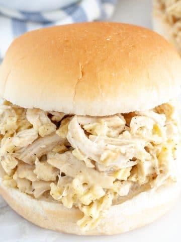 Sandwich bun with chicken.