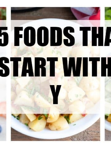 """Words """"25 foods that start with y""""."""