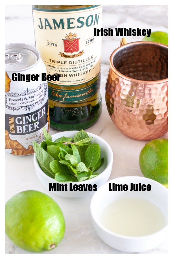 Bottle of Jameson, mint leaves, lime juice, ginger beer.