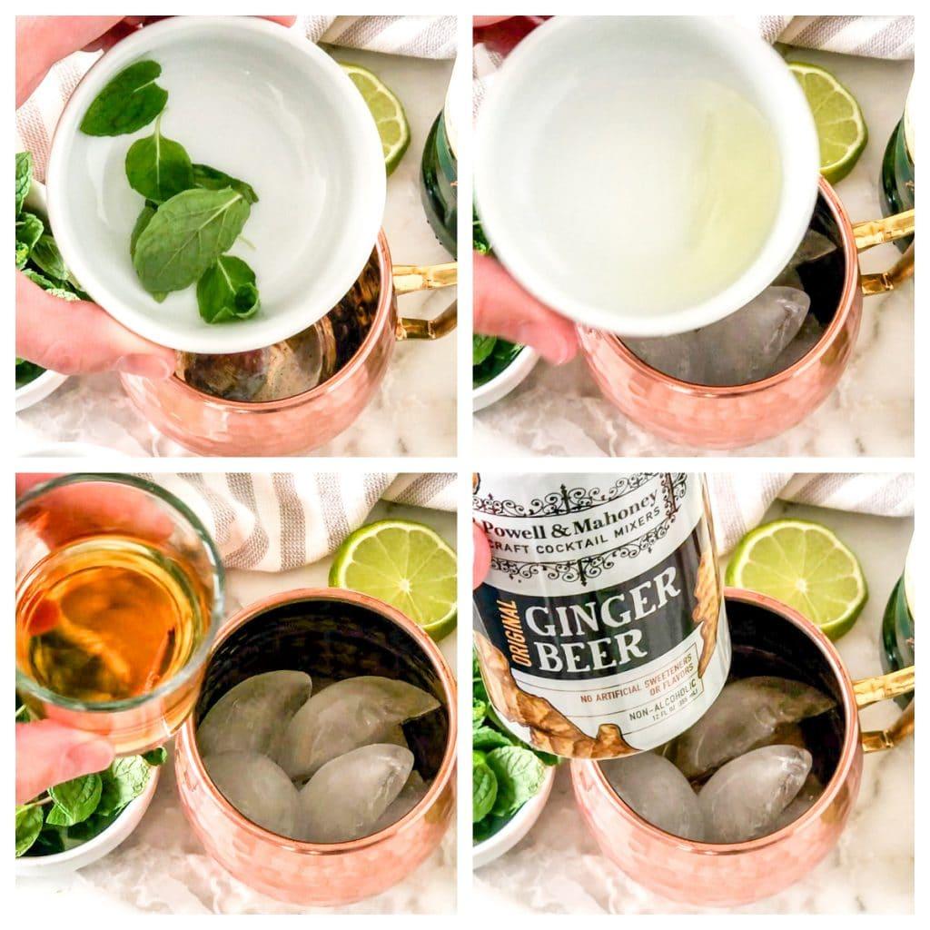 Mint Leaves, lime juice, whiskey, ginger beer.