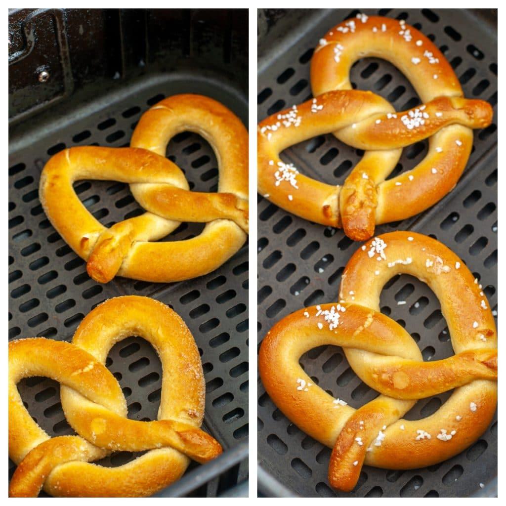 Frozen pretzels in air fryer basket.