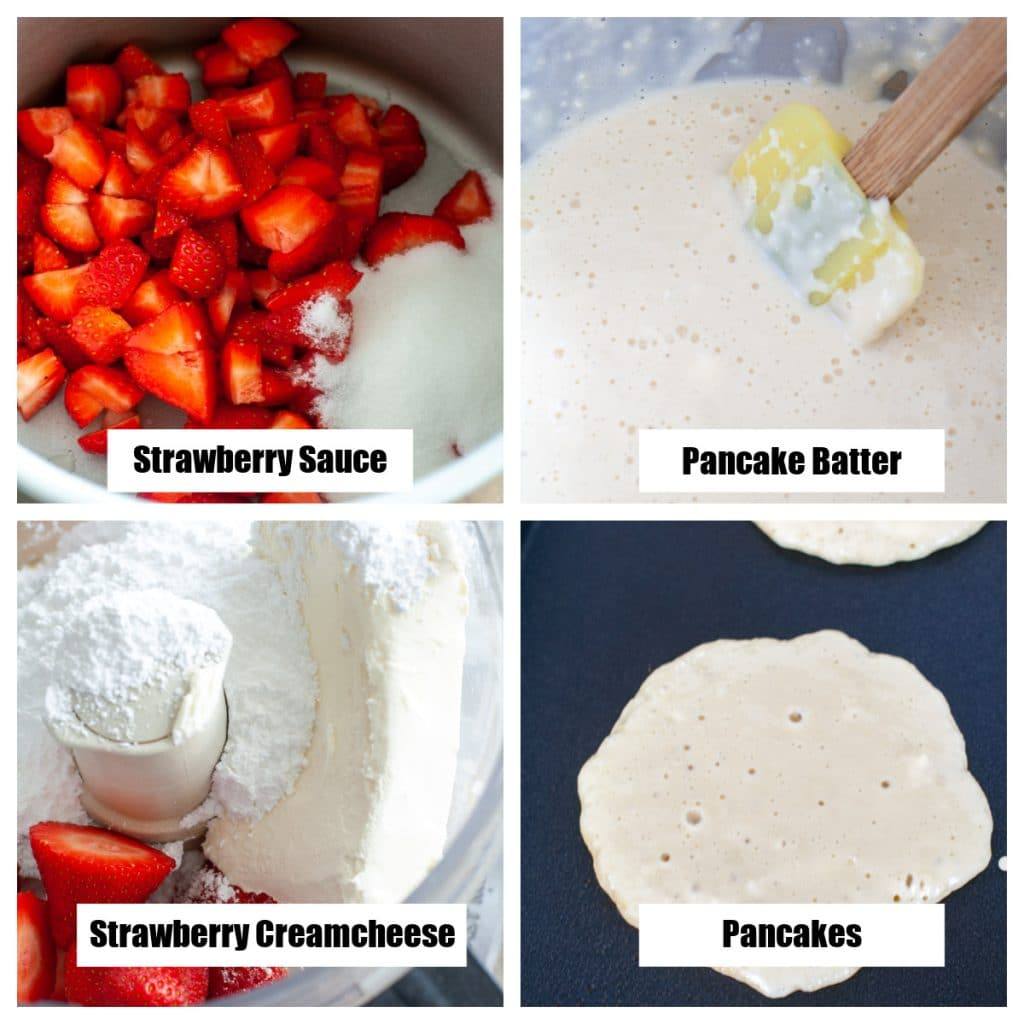 Strawberries and sugar in pot. Pancake batter on griddle.