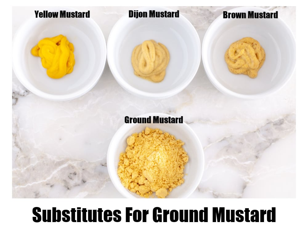Bowls with mustard.