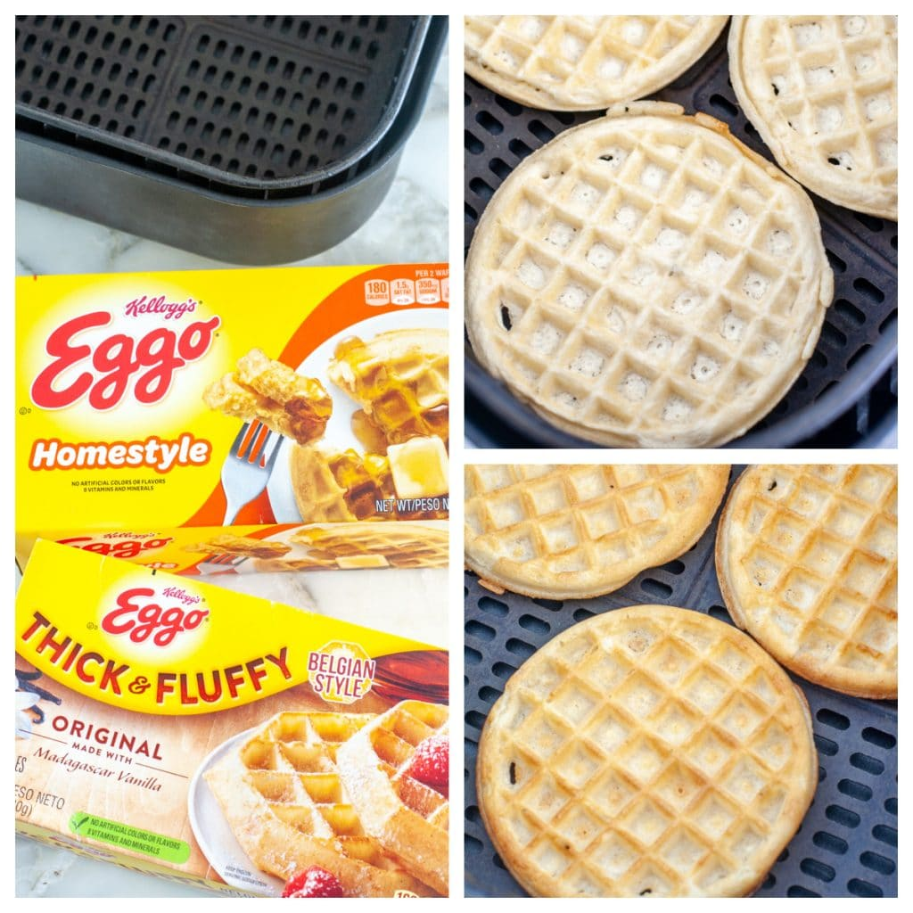 Boxes of frozen waffles. Waffles in air fryer.