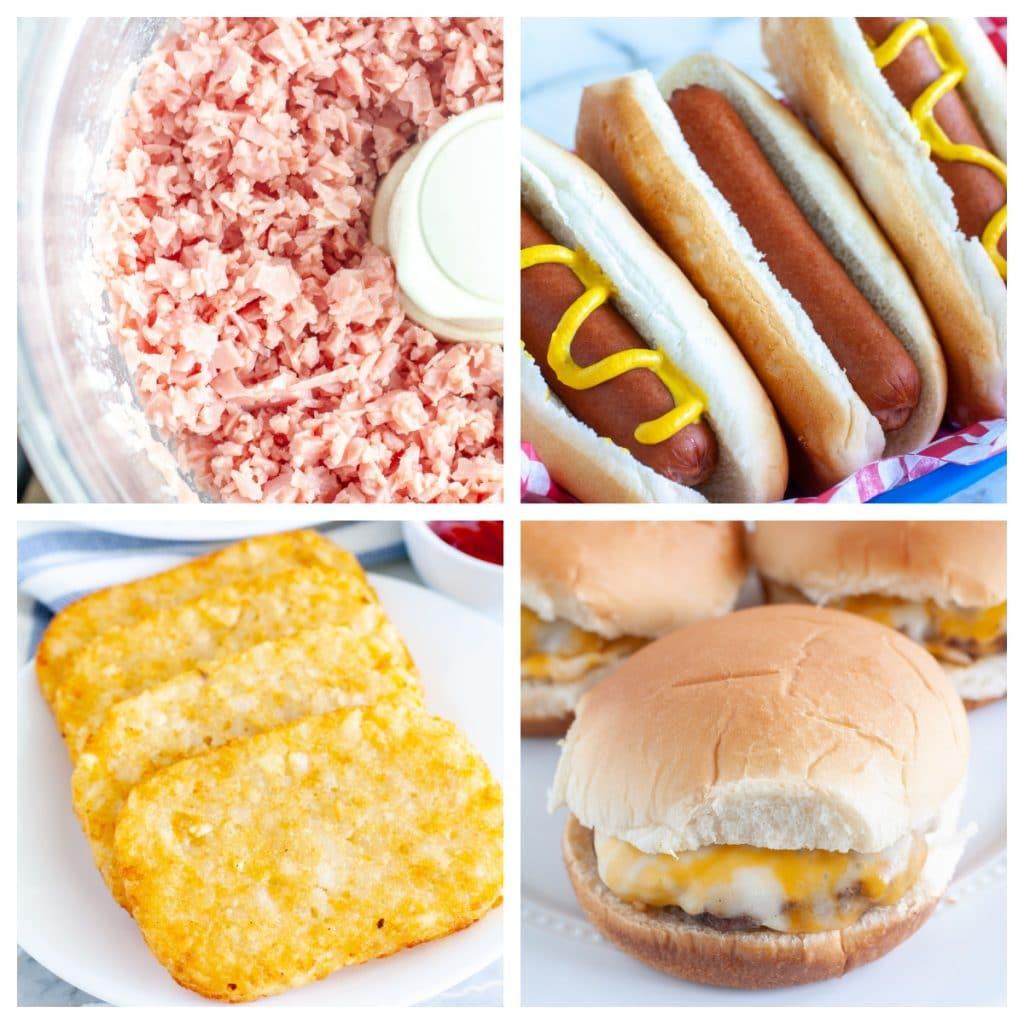 Hot dog, ham, hash browns, hamburger.