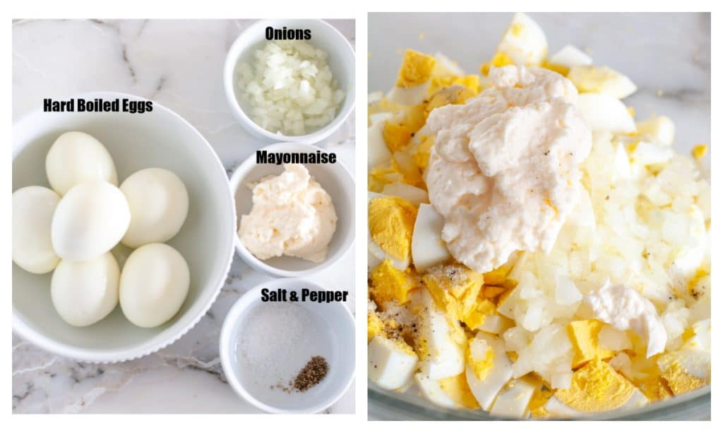 Bowl of eggs, mayo, onions and salt and pepper.