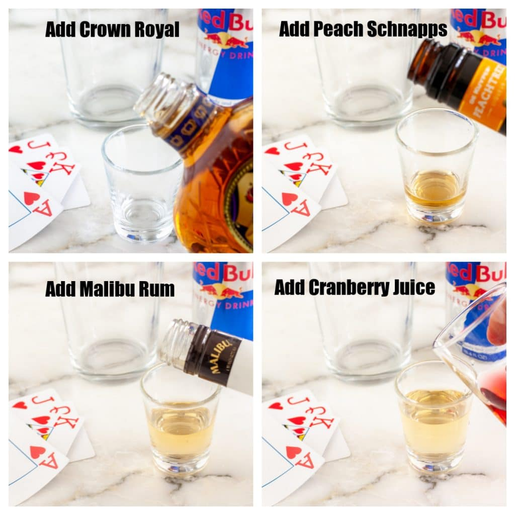 Hand pouring whisky, schnapps, rum and juice into shot glass.