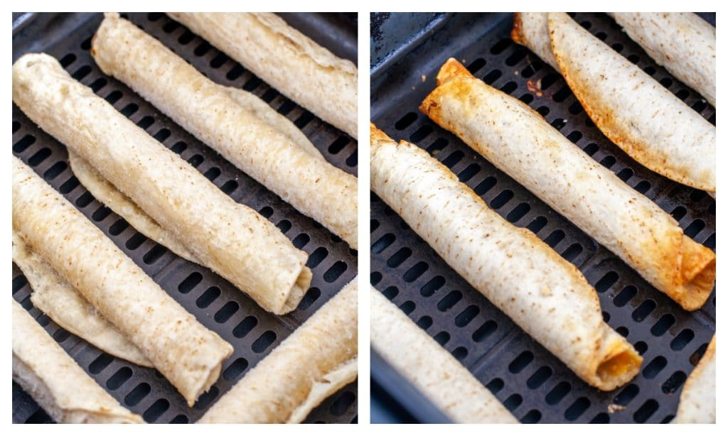 Frozen taquitos and cooked taquitos in air fryer basket.