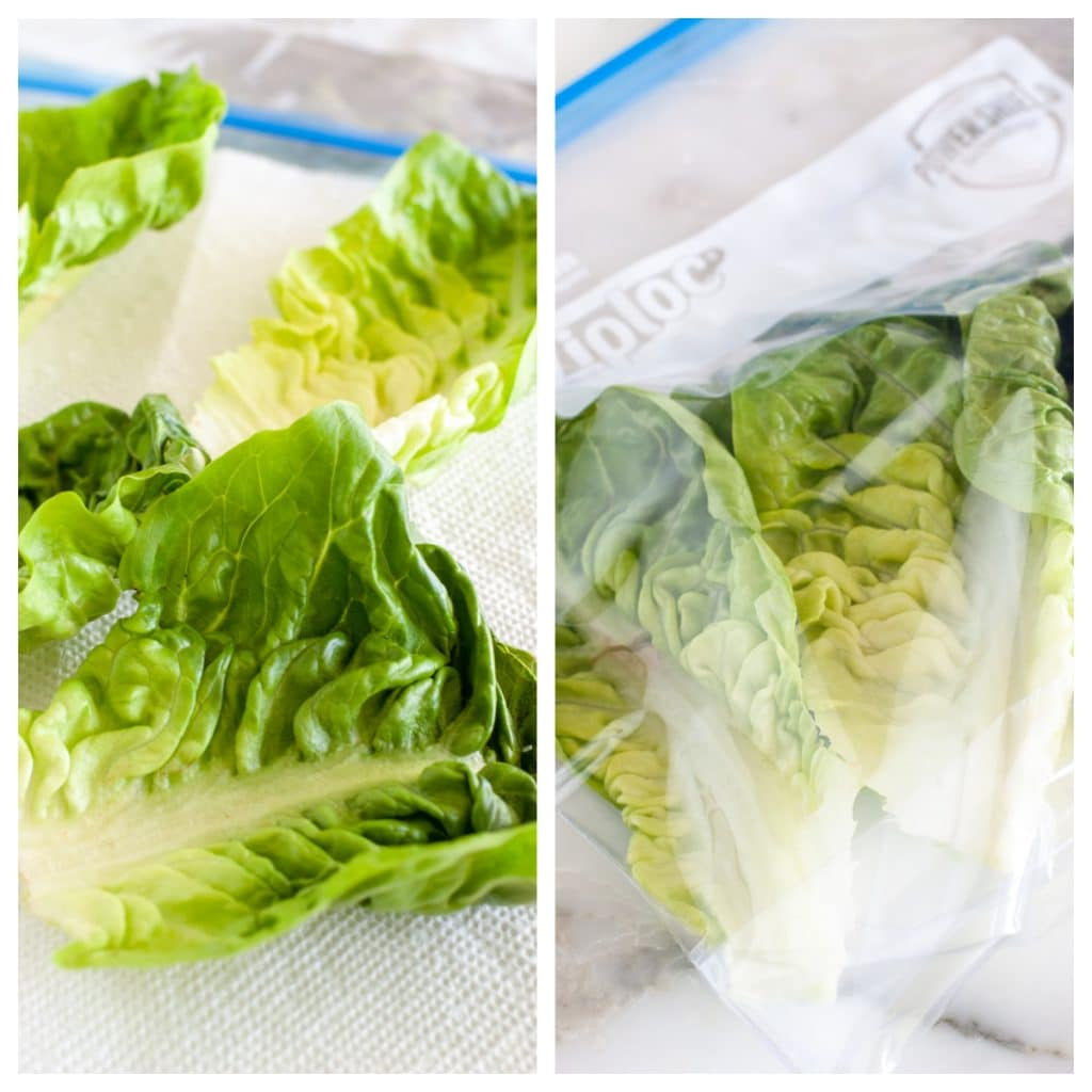 Lettuce leaves on table and in a plastic bag.