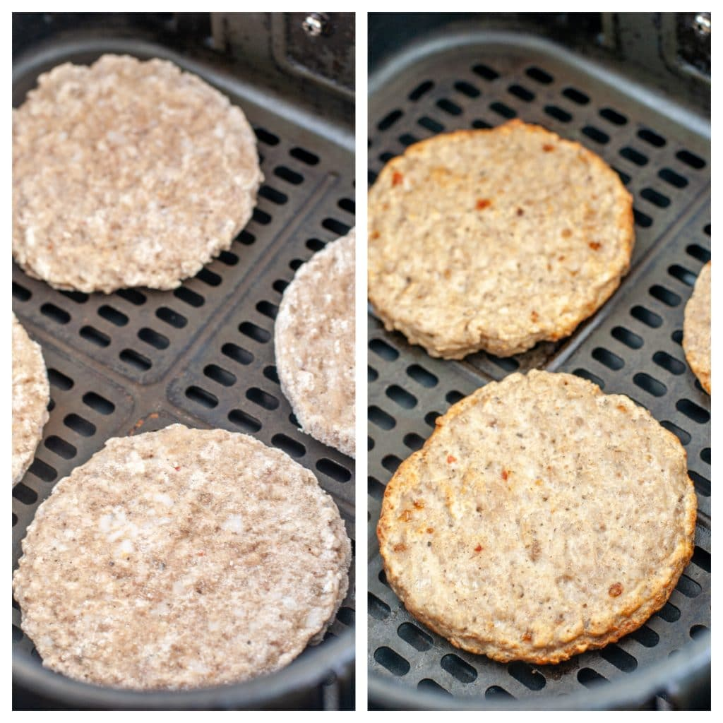 Frozen sausage patties in air fryer basket and cooked patties in basket.