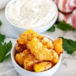 Bowl of crispy cheese curds.