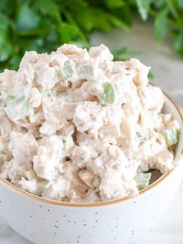 Bowl of chicken salad.