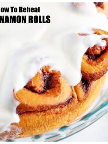 Baking dish of cinnamon rolls.