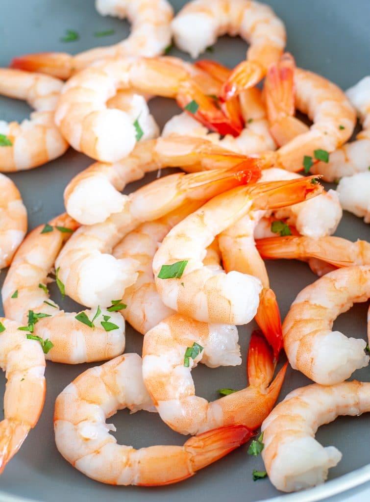 Shrimp in a pan.