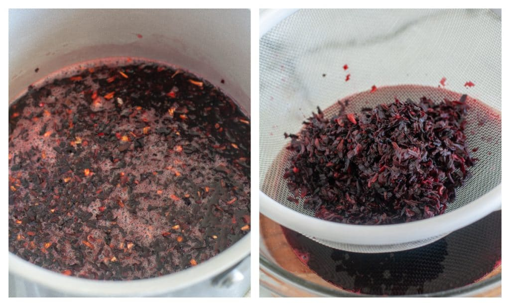 Pot with water and hibiscus flowers and in a strainer.