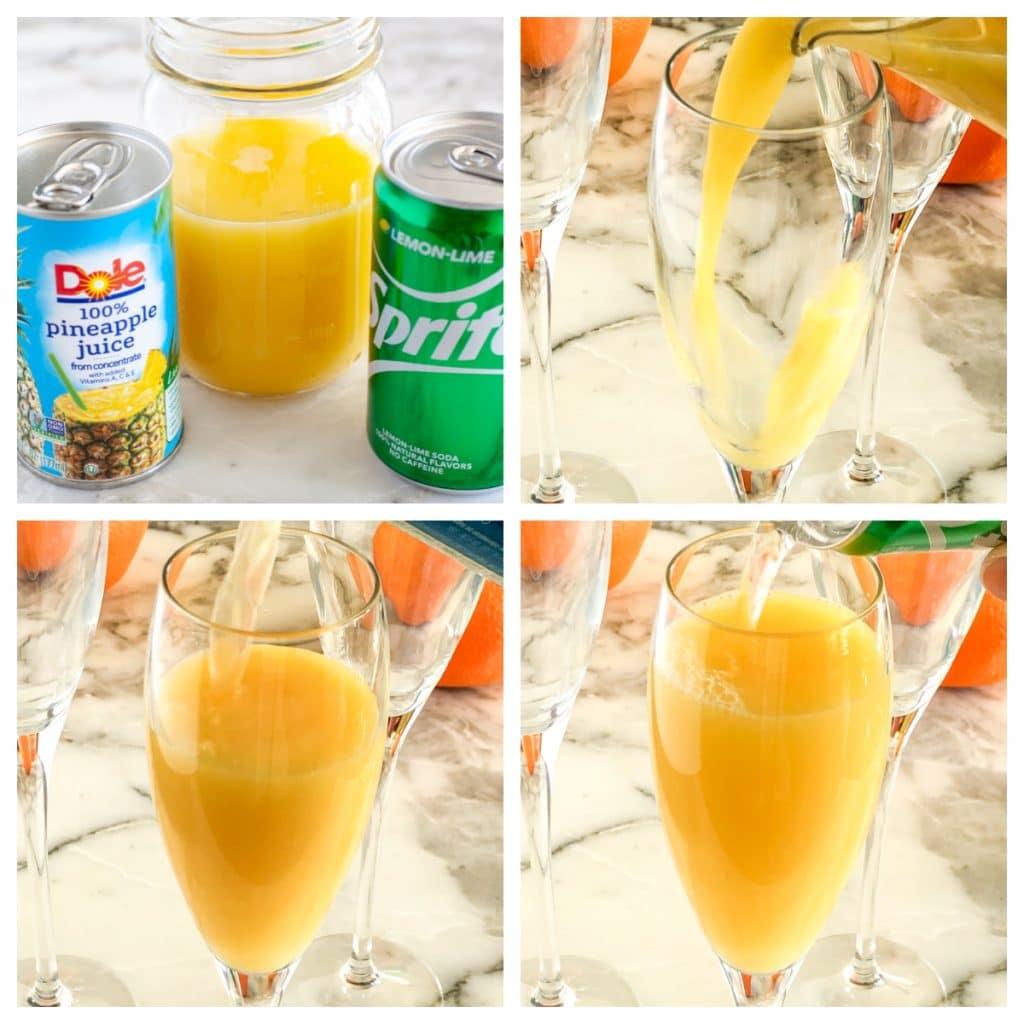 Portakal suyu, ananas suyu ve sprite ile cam.