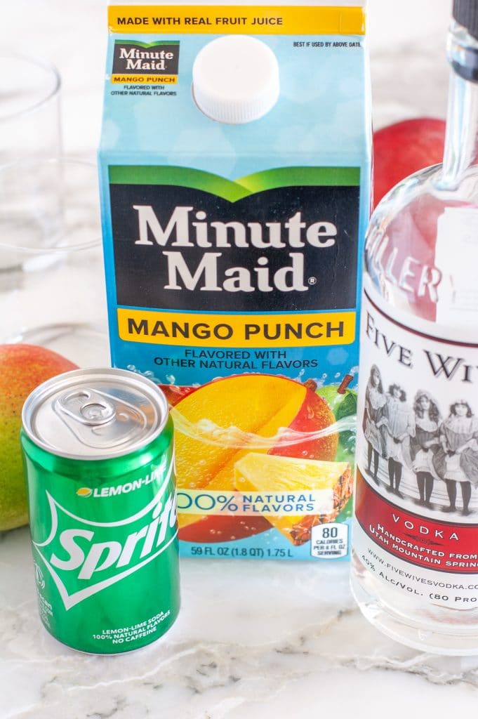 Carton of mango punch, can of Sprite, vodka.