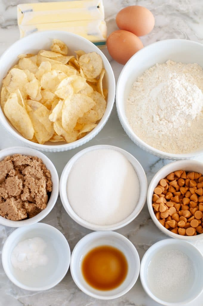 Ingredients for potato chip cookies.