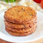 Stack of cooked veggie burgers.