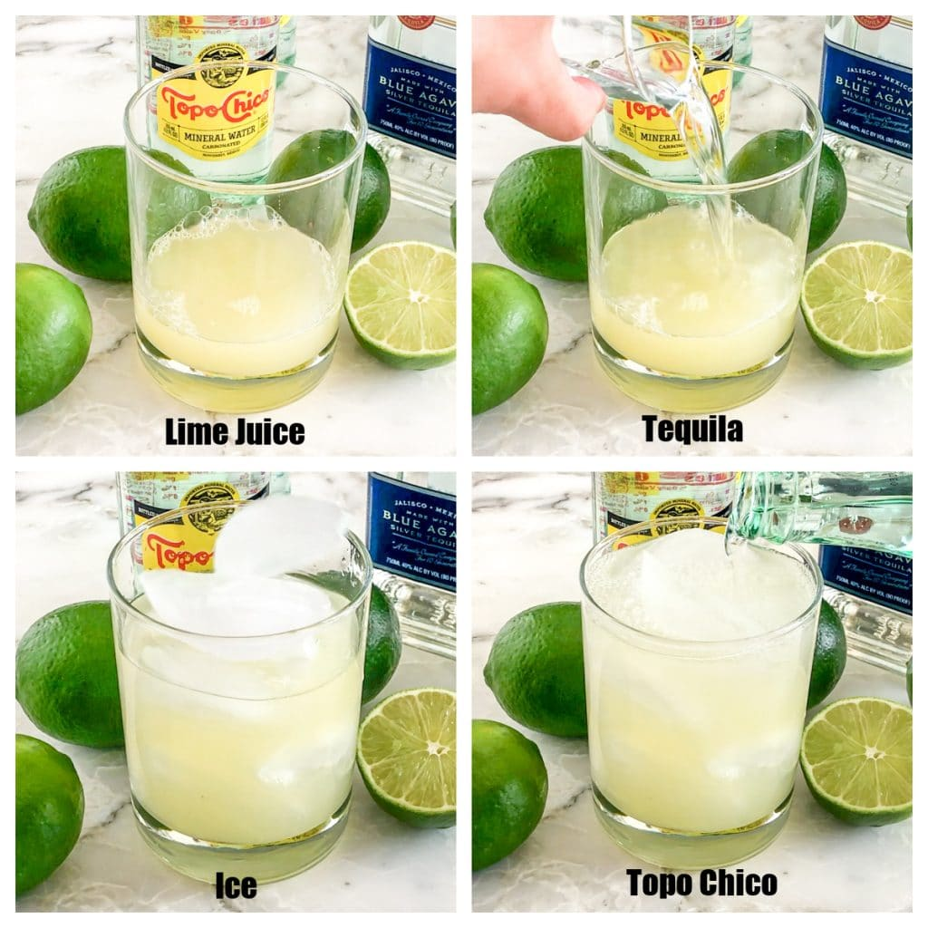 Glass with lime juice, tequila and water.