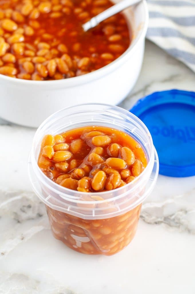 Container of baked beans.