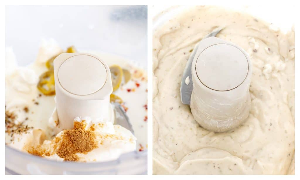 Food processor with sour cream and spices.