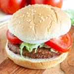 Burger on a plate with tomato and onion.